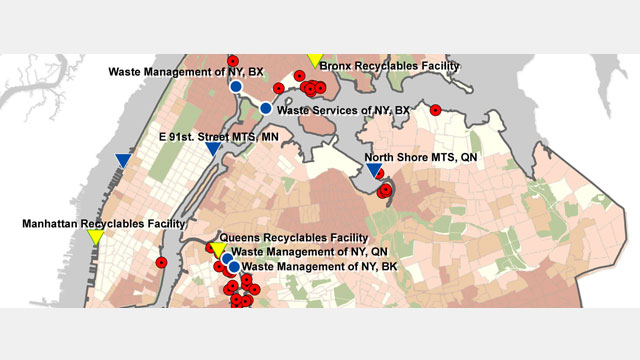 Most of NYC's waste transfer stations are concentrated in poor and minority communities in the Bronx, Queens, and Brooklyn.