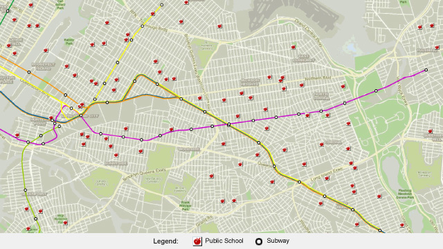 map illustrating the close proximity of elevated subways to public schools in Queens